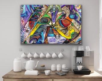 Urban Purple-Blue Art Canvas, Colorful Graffiti Art Canvas, Abstract Canvas Wall Art, Canvas Wall Decor, Big Canvas Prints