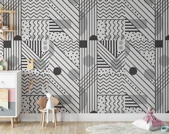 Black-White Abstract Geometric Wallpaper, Peel and Stick Tribal Wall Decor, Vinyl Wallpaper, Boho Wall Art, Removable Retro Wallpaper