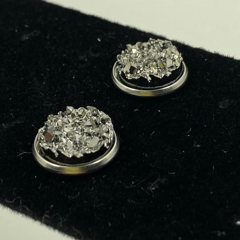 Silver Druzy Stone Stud Earrings