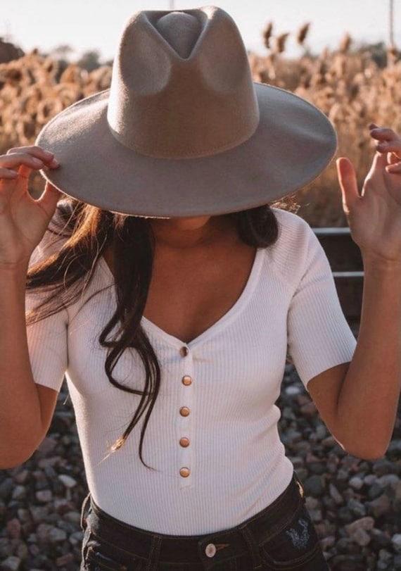 Wide brim fedora hat/ vintage fedora hat/ panama … - image 4