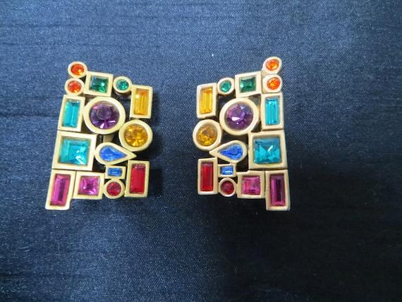 Groovy colourful geometric earrings