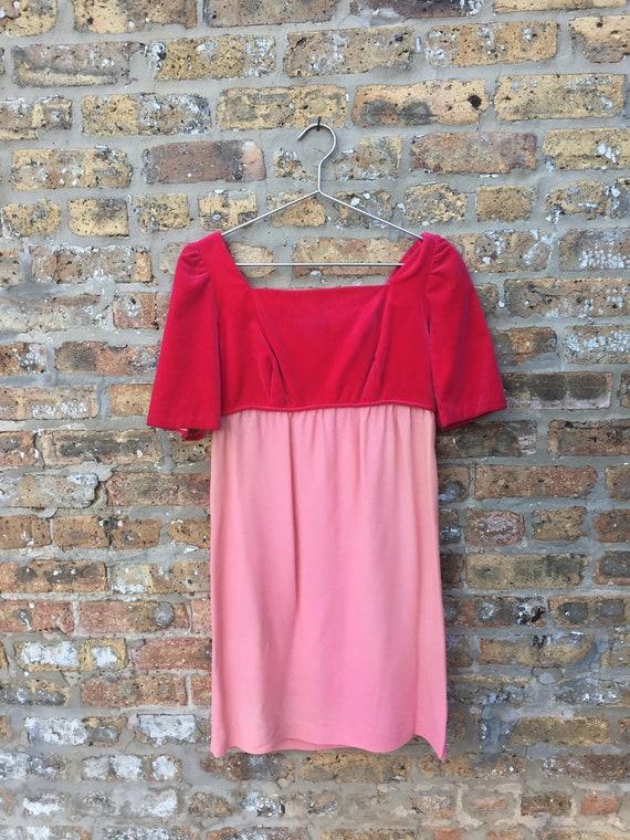 Pink Velvet Babydoll Dress