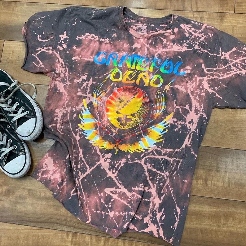 Bleach Wash Grateful Dead Shirt Custom Grateful Dead T-Shirt Grateful Dead Vintage Inspired Band Tee Grateful Dead Acid Wash Shirt