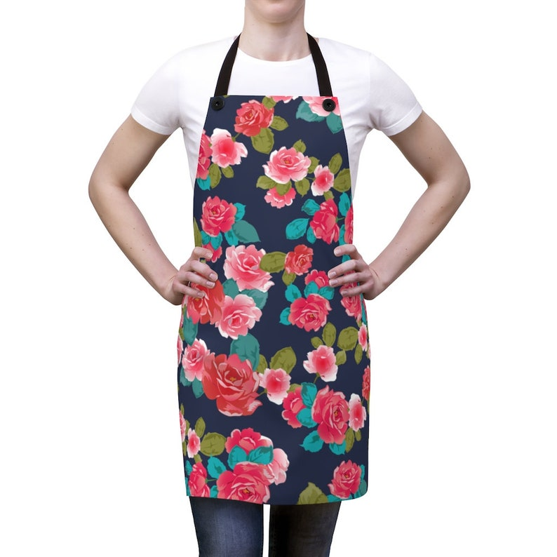Floral print kitchen mothers day gift flower apron work apron Gardening apron bbq apron woodworking apron
