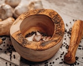 Rustic Olive Wood Mortar Pestle - Wood Herb Grinder - Beautifully Hand-crafted and completely unique - Housewarming Gift Kitchen Décor
