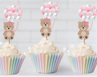 Teddy Bear Cupcake Toppers, Baby Girl Picks Shower Picks, Baby Shower Cupcake Toppers