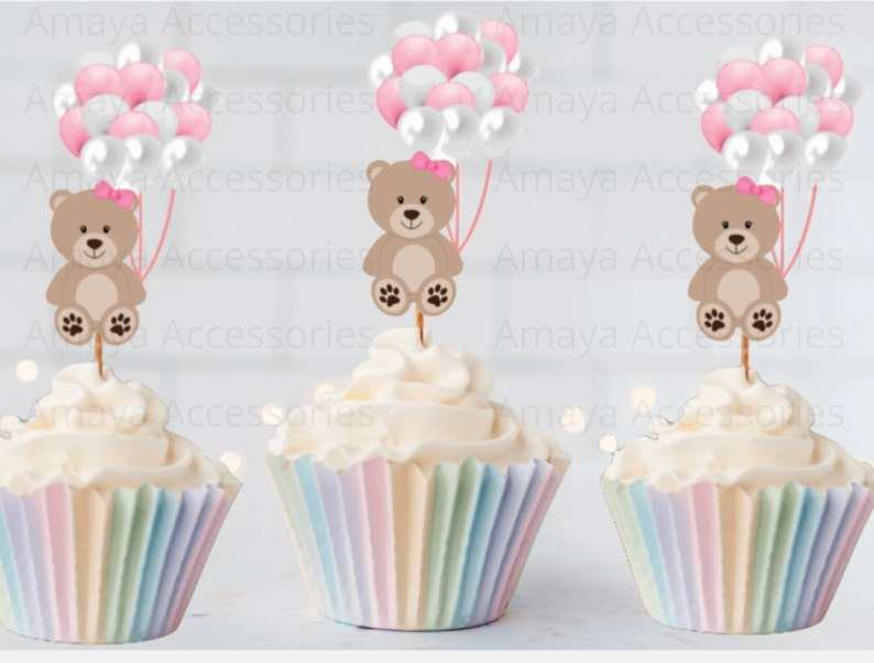 Baby Shower Cupcake Toppers Baby Girl Picks Shower Picks Teddy Bear Cupcake Toppers
