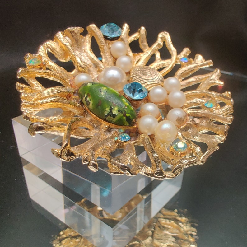 Vintage Mermaid Brooch Branch Coral Rhinestone Faux Pearl Nest Blue /& Green