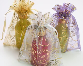 50 /& 100 Organza Bags Wedding Favour Party Jewellery Pouch Mesh Drawstring Gift