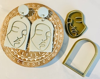 Abstract Face, Polymer Clay Stamp, Continuous Line Face Outline, Minimalist Clay Cutter, 3D Polymer Clay Cutter Set