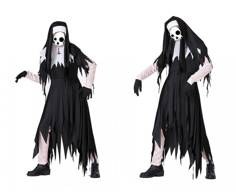 Black Coaplay Skirt,Hooded Cloak For Women,Masquerade Robe Halloween Costume,Nun Costumes For Girls Women,Cosplay Costume,Irregular tassels