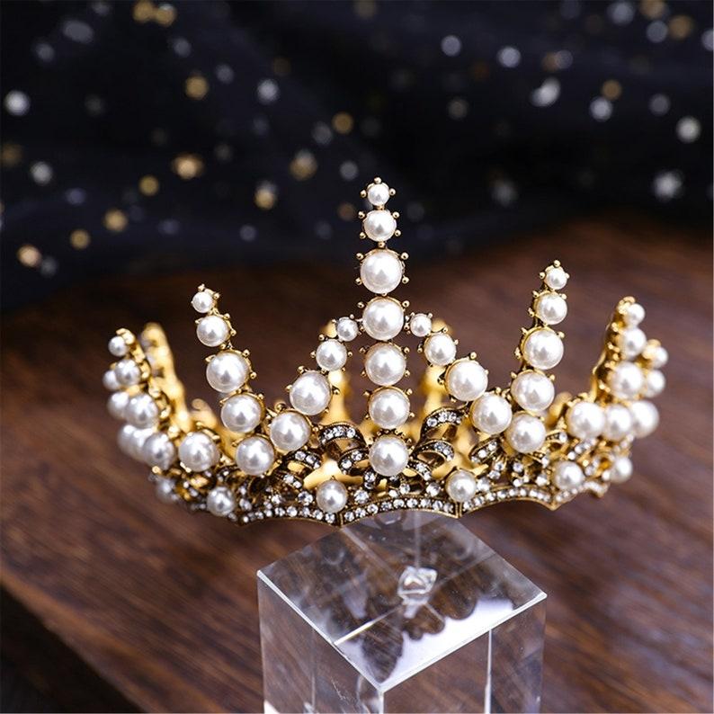 Vintage Gold Crown With Pearl,Handmade Crown,Bridal Crown,Wedding Crown,Crown Gifts,Crown Prom,Headwear,Jewerly,Crown Queen,Crown Adult