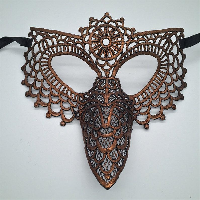 Gothic Bronze Rainbow Owl Coaplay Lace Mask,Masquerade Mask,Lace Face Mask,Handmade Mask,Hallowen Christmas Ball Party Mask,Mask Adult