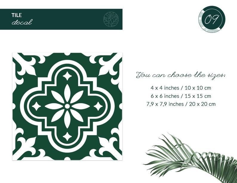 Grüne marokkanische Blume 9 Fliesen Aufkleber Packung mit