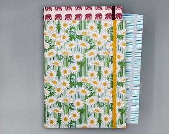 Himalayan Daisy Recycled Journal with Elastic Band | Notebook | Sketchbook |  Flower Print | 6x8 | Unlined
