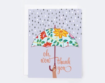 Thank You Oh Wow (single card)  |  Blank inside with Envelope | Thank You Card | Love and Friendship | Notecard