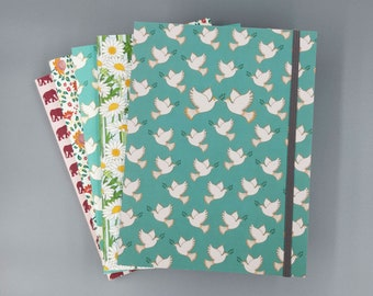Peace Dove Recycled Sketchbook with Elastic Band | Notebook | Journal |  Flower Print | 6x8 | Unlined