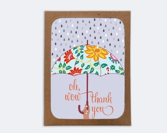 Thank You Oh Wow Card (box of 8)  | 8 Blank inside Cards with 8 Envelopes | Thank You Cards | Love and Friendship | Notecards