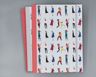 Dancing Recycled Journal with Elastic Band | Notebook | Sketchbook |  Flower Print | 6x8 | Unlined