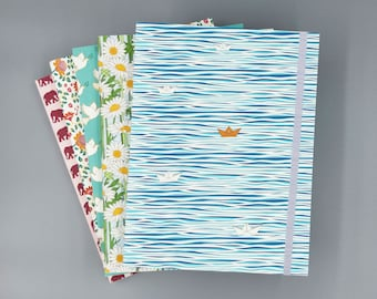 Finding Home Recycled Journal with Elastic Band | Notebook | Sketchbook | Water and Paper Boat Illustration | 6x8 | Unlined