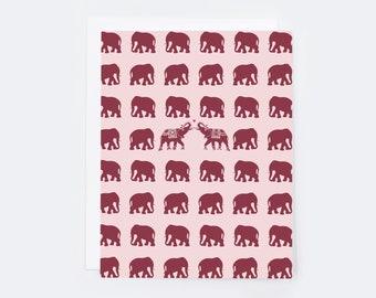 Elephant Love (single card)  |  Blank inside with Envelope | Elephant Love Stationery | Notecard