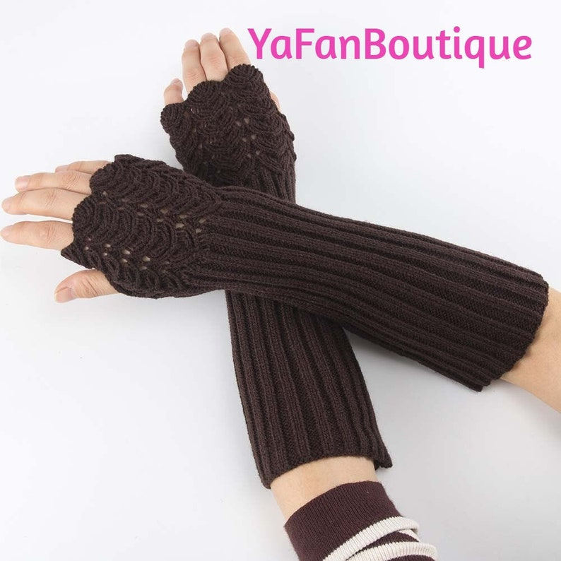 Elegant Women Fingerless Long Gloves Thumbhole Knit Arm Warmer Sleeve Elbow Length Soft Solid Color Mitten Winter 1 Pair