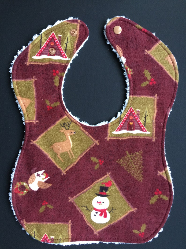 Absorbent Bib for Diners and Droolers Winter Woodland Scenes