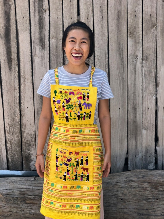 Boho Embroidery Pattern Apron, Handmade in Laos. Unique Cute Women's Apron in Yellow. Size Small to Medium