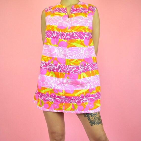 vintage 70s pink babydoll dress