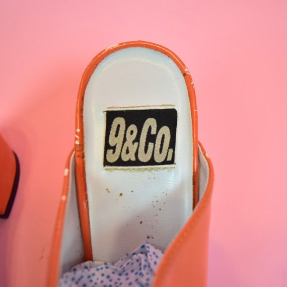 vintage 90s orange high heeled mules - image 10