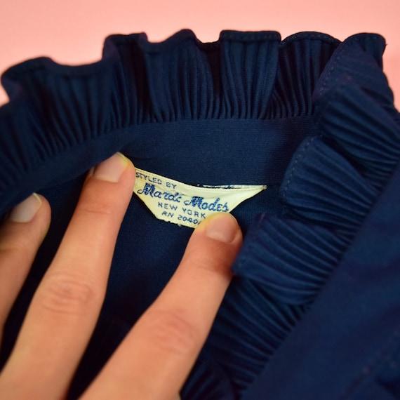 vintage 60s navy blue frill blouse - image 9