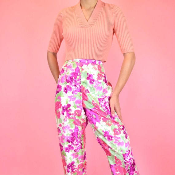vintage 80s watercolor floral pants