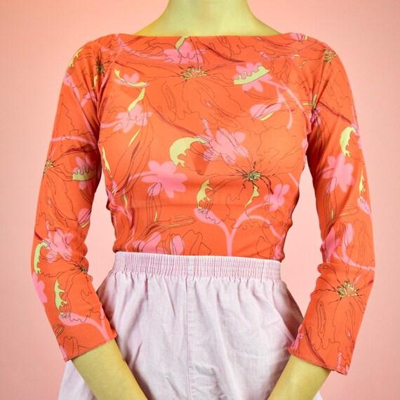 vintage 90s orange mesh top