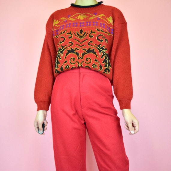 vintage 80s red sweater
