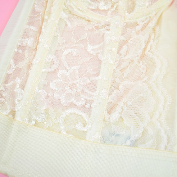 vintage 90s cream white lace corset top - image 6