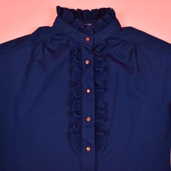 vintage 60s navy blue frill blouse - image 6