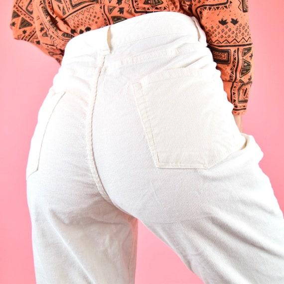 high waisted white corduroy pants