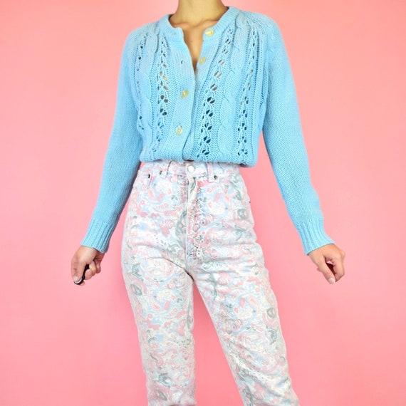 vintage 80s pink paisley floral jeans - image 2