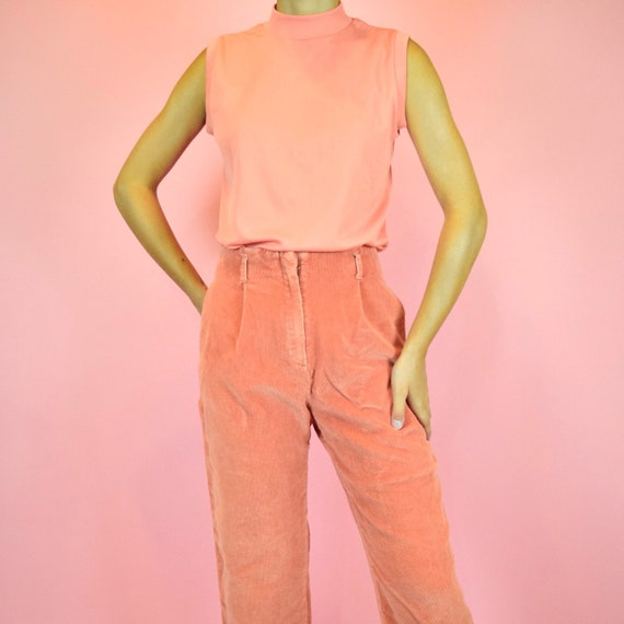 peach pink corduroy pants