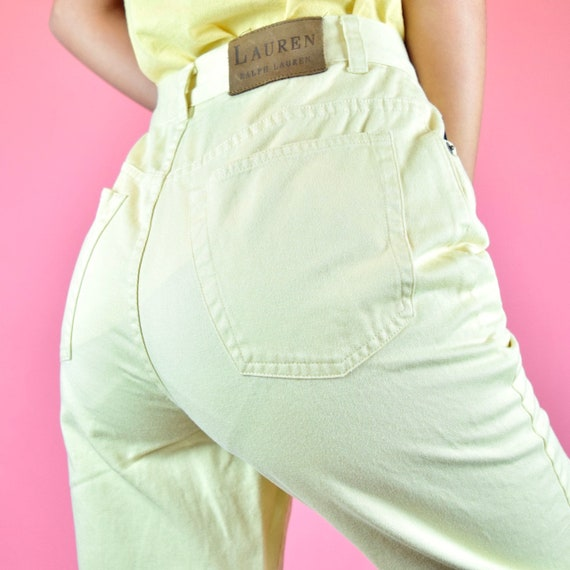 vintage 90s yellow high waisted jeans