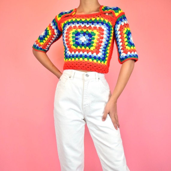 vintage 70s rainbow crochet crop top - image 1