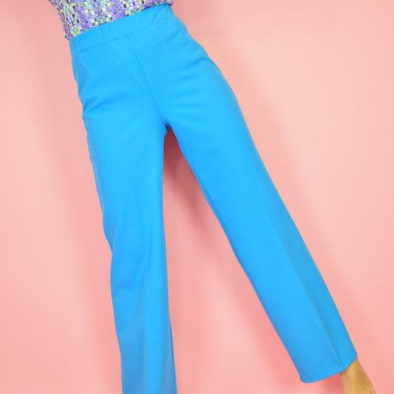 vintage 70s sky blue high waisted pants - image 4