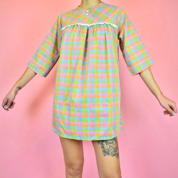 vintage 60s picnic babydoll dress