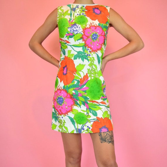 vintage 60s mod floral dress - image 1