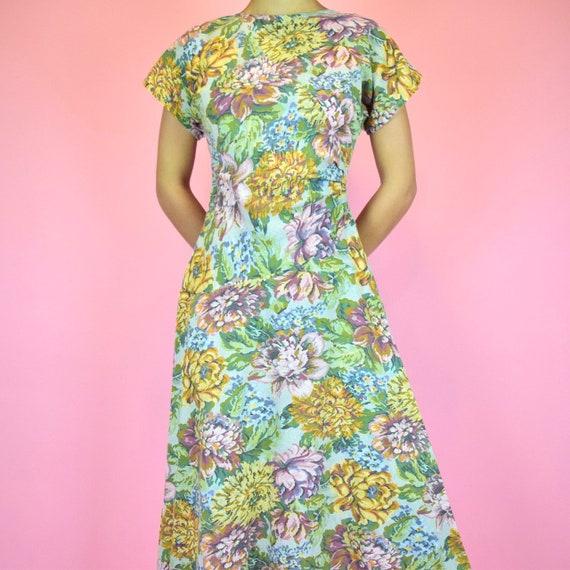 vintage 60s floral midi dress
