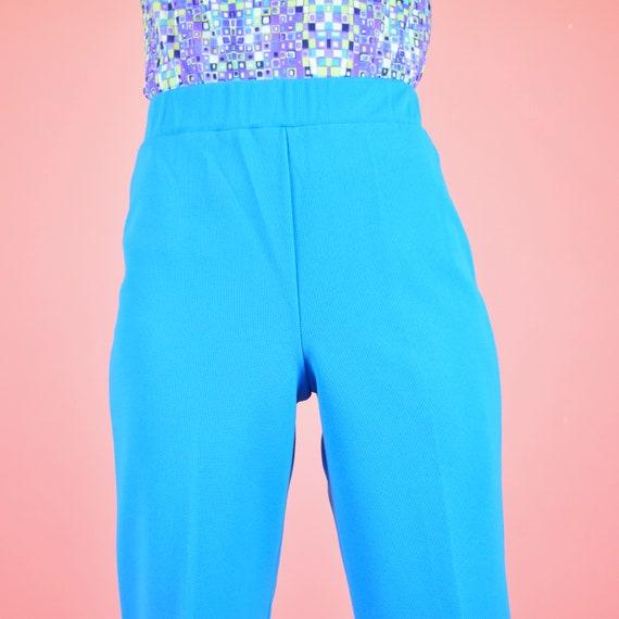 vintage 70s sky blue high waisted pants - image 3