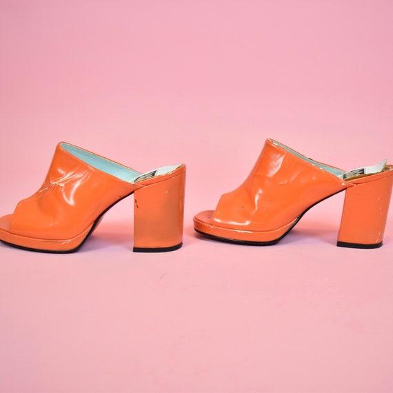 vintage 90s orange high heeled mules - image 6
