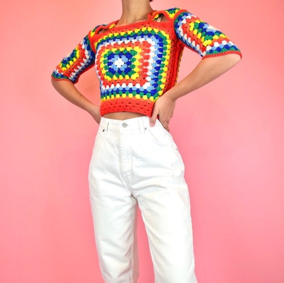 vintage 70s rainbow crochet crop top - image 3