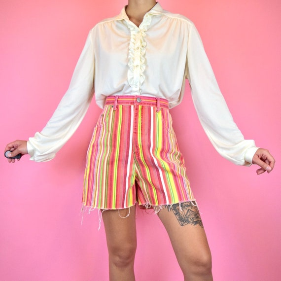 vintage 90s colorful striped shorts