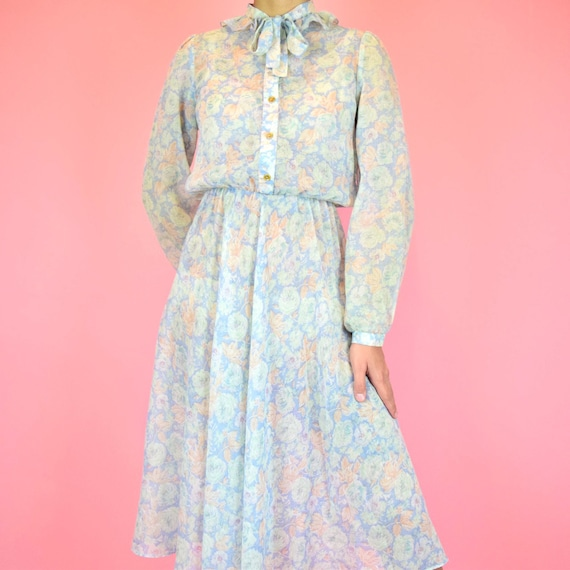 vintage 70s sheer blue floral dress